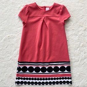 Gymboree girls coral black polka dot shift dress 8